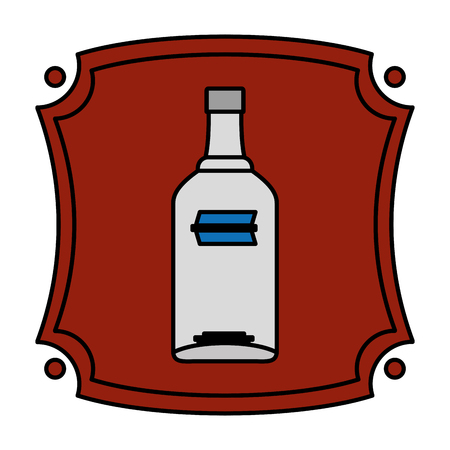 color emblem with vodka liquor bottle beverage vector illustration