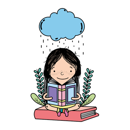 color girl reading book and cloud raining vector illustration Illustration