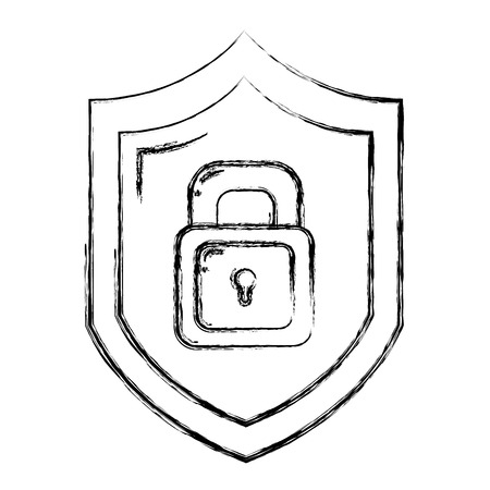 grunge security shield and padlock protection symbol