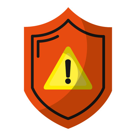 warning symbol inside security shield protection