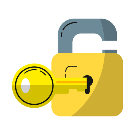 security padlock protection with key object inside Illustration