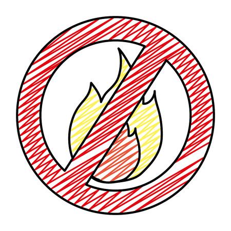 segno di allarme vietato cerchio fuoco caldo doodle