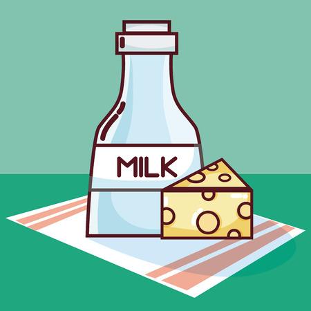 Milk bottle and cheese Illusztráció
