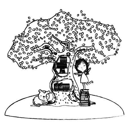 grunge girl playing with books inside tree and cat