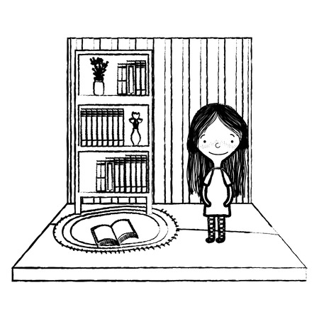 grunge girl with books and flowers vase organized in the bookcase Illustration