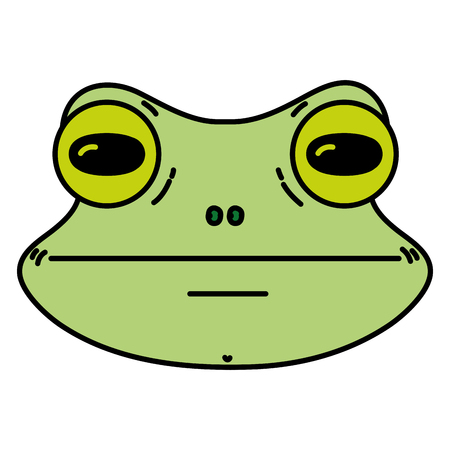 color cute frog head wild animal