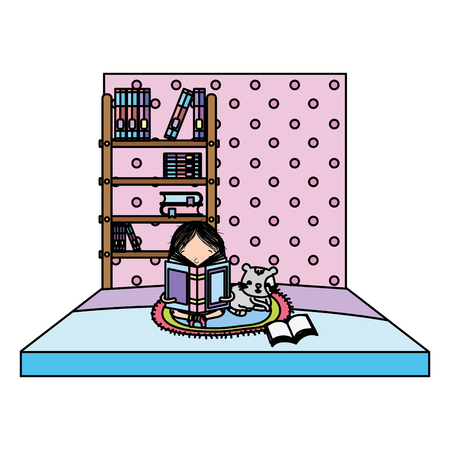 color girl reading book with cat and bookcase