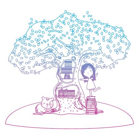 fille de ligne dégradée jouant avec des livres à l'intérieur d'un arbre et d'un chat