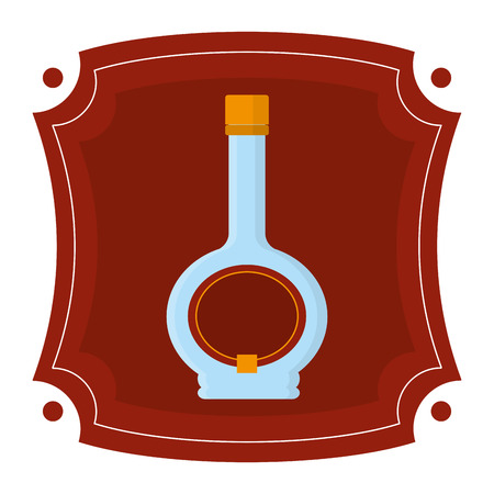 emblem with alcohol liquor bottle drink Illustration