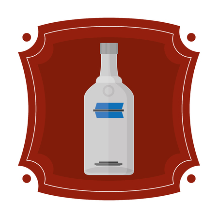 emblem with vodka liquor bottle beverage Illustration