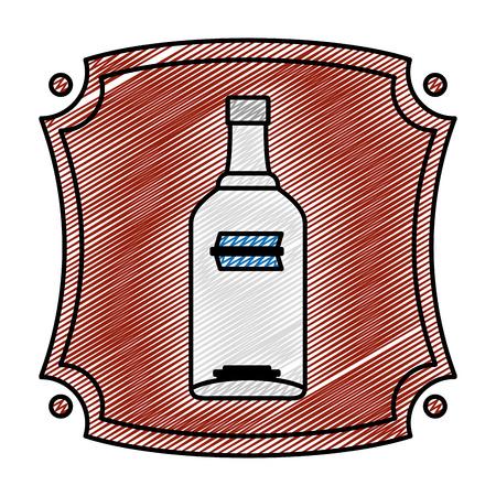 doodle emblem with vodka liquor bottle beverage