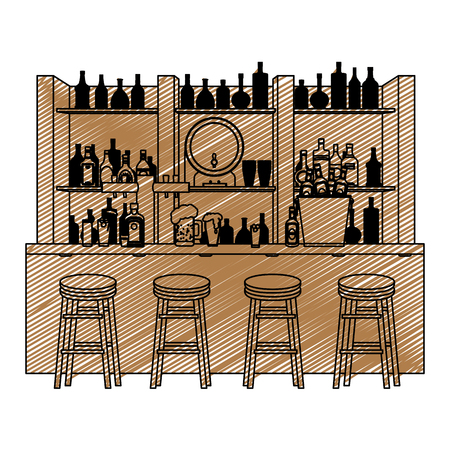doodle bar liquor beverages with chairs objects
