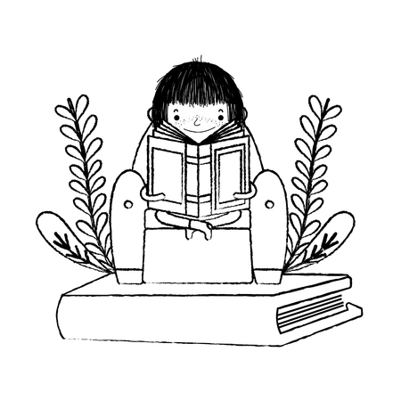 grunge girl sitting chair and reading book Stock Illustratie