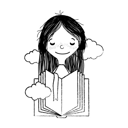 grunge girl with closed eyes and open book