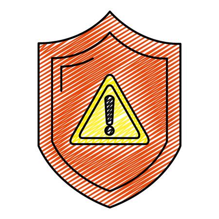 doodle warning symbol inside security shield protection