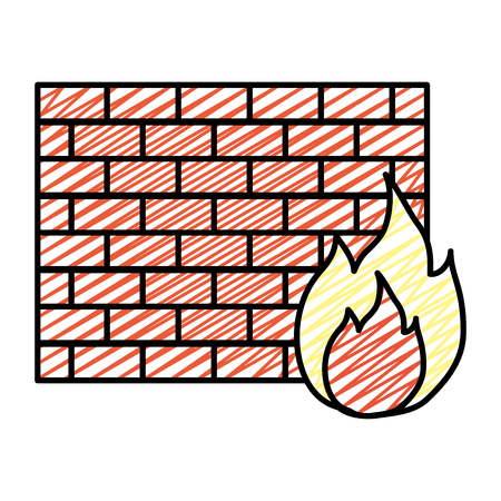 doodle structure brick wall with caution fire