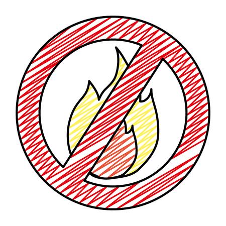 doodle hot fire circle forbidden alert sign