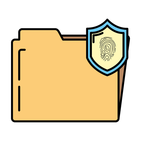 color folder file with tactile fingerprint inside shield