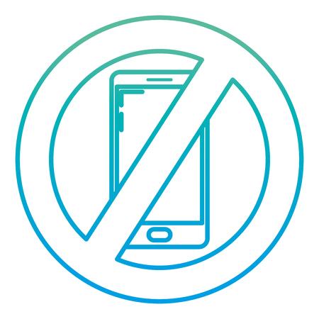 degraded line smartphone circle forbidden alert sign
