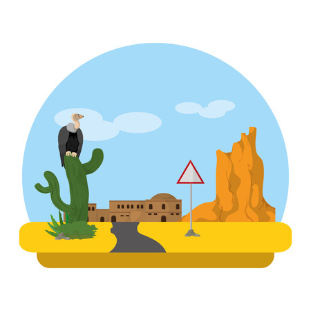 vulture in cactus and city desert with notice emblem Illustration