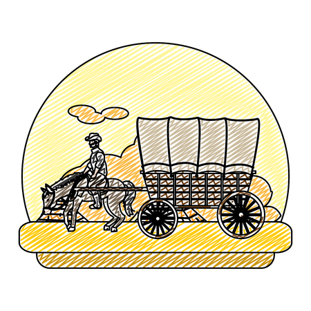 doodle man ride horse with carriage in the desert
