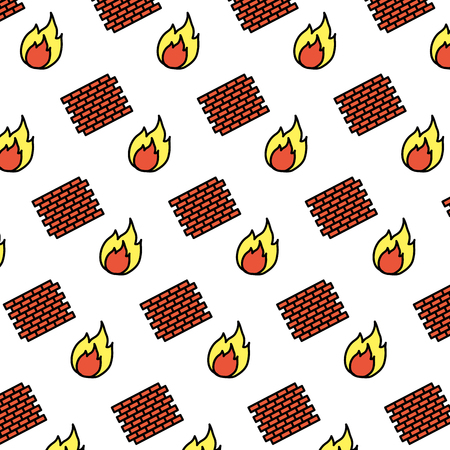 color brick wall structure and fire background