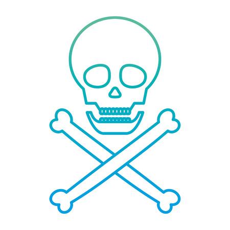 degraded line danger skull warning death symbol Illustration