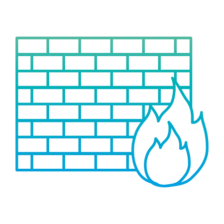 degraded line structure brick wall with caution fire
