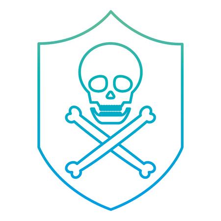 degraded line shield danger skull death symbol Illustration