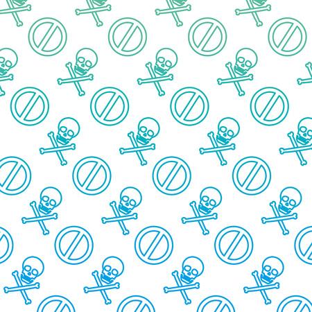 degraded line darger skull symbol and forbidden sign background