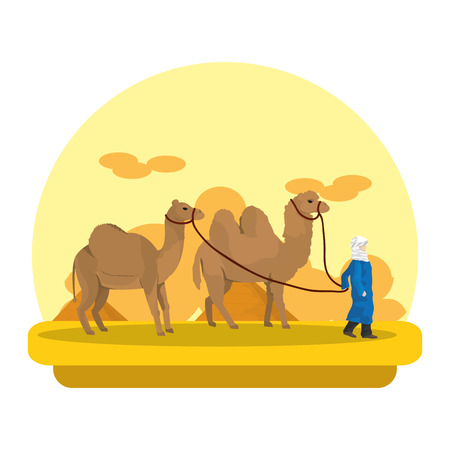 man with dromedary and camel in the desert landscape