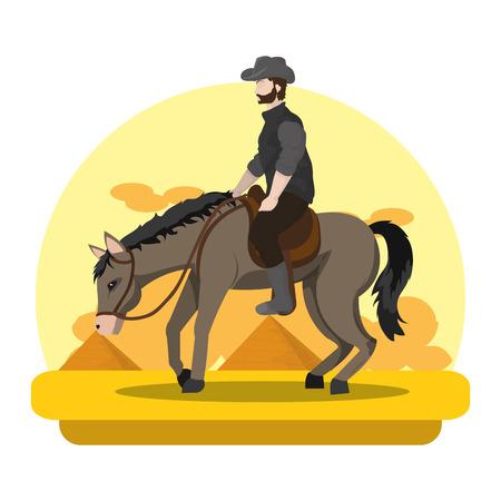 man riding horse in the landscape desert Vectores