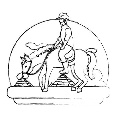 grunge man riding horse in the landscape desert