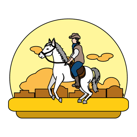 color man riding horse in the desert landscape Vectores