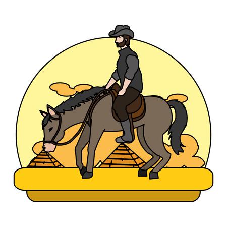color man riding horse in the landscape desert