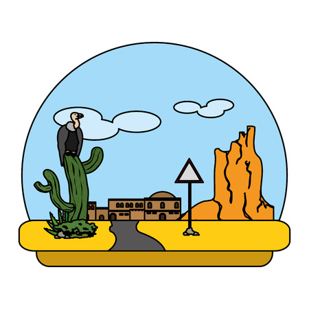 color vulture in cactus and city desert with notice emblem Illustration
