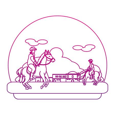 degraded line cowboys riding horses in the city desert