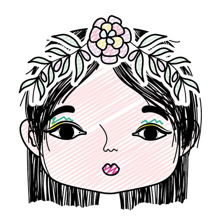 doodle woman with flower and leaves to head decoration
