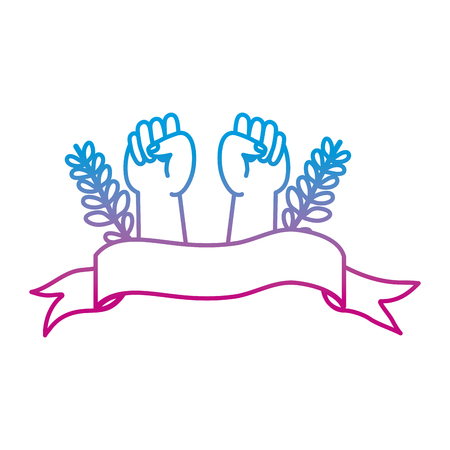 degraded line opposition hands protest with branches leaves and ribbon vector illustration