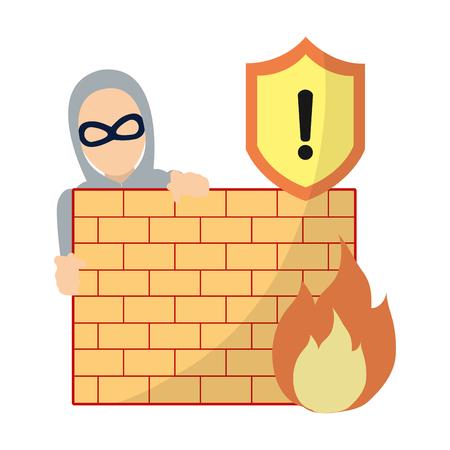 voleur avec masque derrière le mur de briques et illustration vectorielle de mise en garde incendie