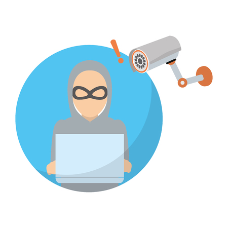 hacker with laptop data and video camera vector illustration