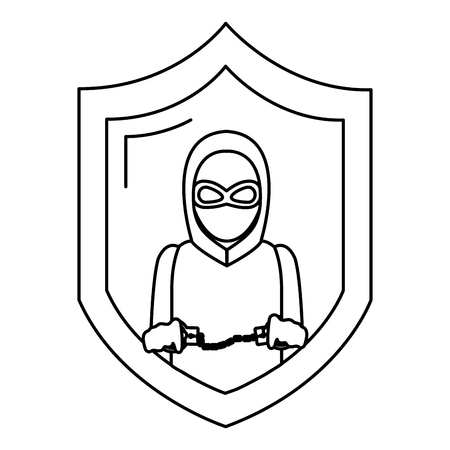 line shield with thief mask and criminal handcuffs vector illustration
