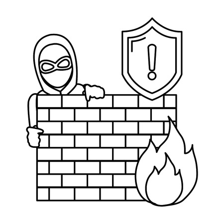 line thief with mask behind brick wall and fire caution vector illustration