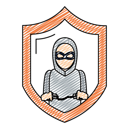 doodle shield with thief mask and criminal handcuffs vector illustration