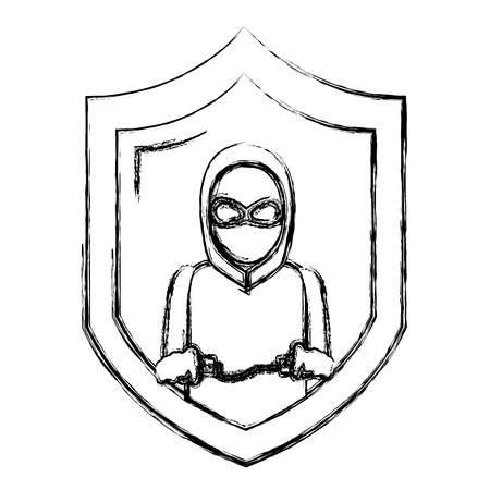grunge shield with thief mask and criminal handcuffs