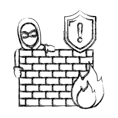 grunge thief with mask behind brick wall and fire caution Illustration