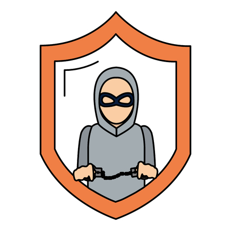 color shield with thief mask and criminal handcuffs vector illustration Illustration