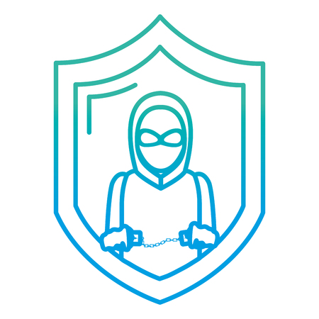 degraded line shield with thief mask and criminal handcuffs vector illustration