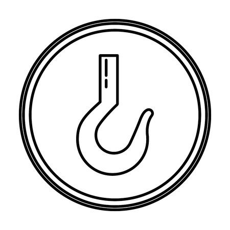 line metal hook icon equipment emblem vector illustration Vektorové ilustrace