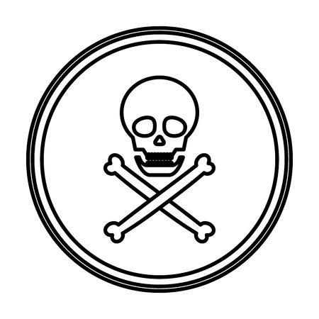 line danger skull warning symbol emblem